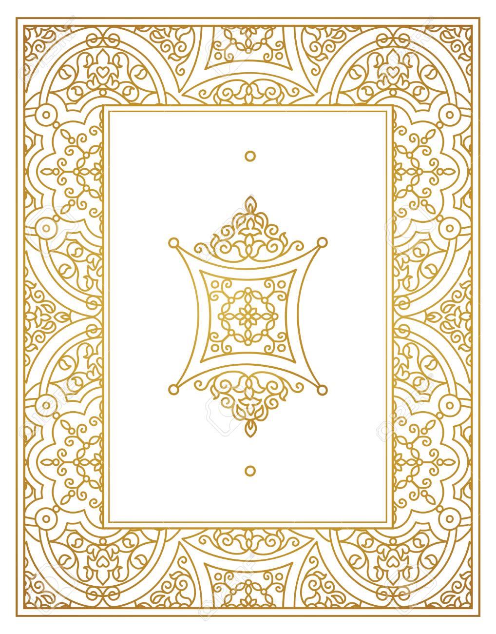 Vector Vintage Golden Frame, Ornate Vignettes For Design Template ...