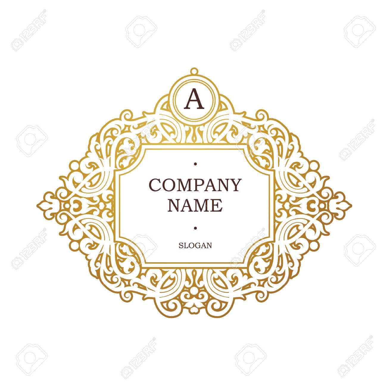 Versión Rasterizada Marco Dorado En Estilo Victoriano Elemento Ornamentado Para El Diseño Lugar Para Nombre De La Empresa Y Eslogan Adorno Viñeta