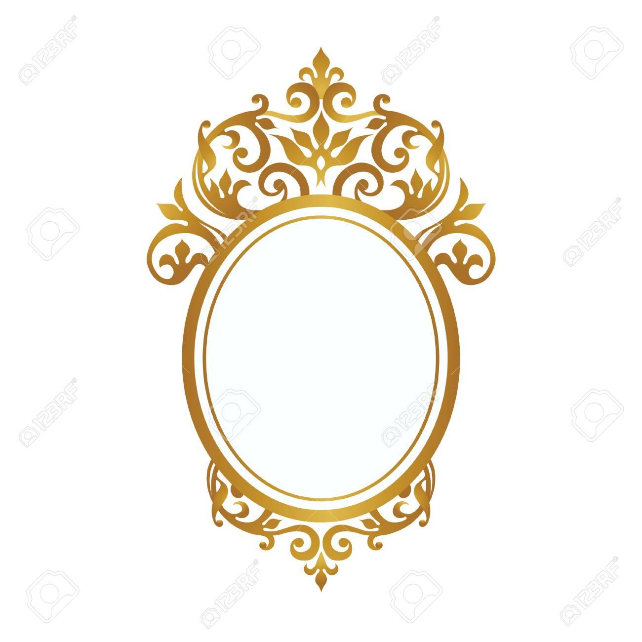 Versión Ráster Marco Decorativo En Estilo Victoriano Elemento Elegante Para El Diseño Lugar Para El Texto Borde Floral Dorado Decoración De Encaje