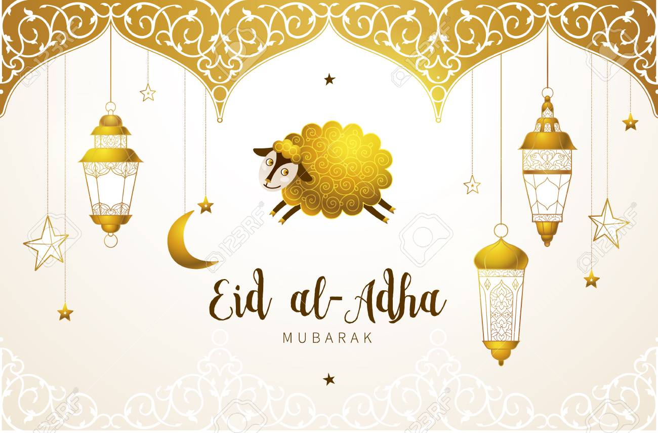 Vector muslim holiday Eid al-Adha card. Banner with sheep, golden decor, calligraphy for happy sacrifice celebration. Islamic greeting illustration. Traditional holiday. Decoration in Eastern style. - 103279416