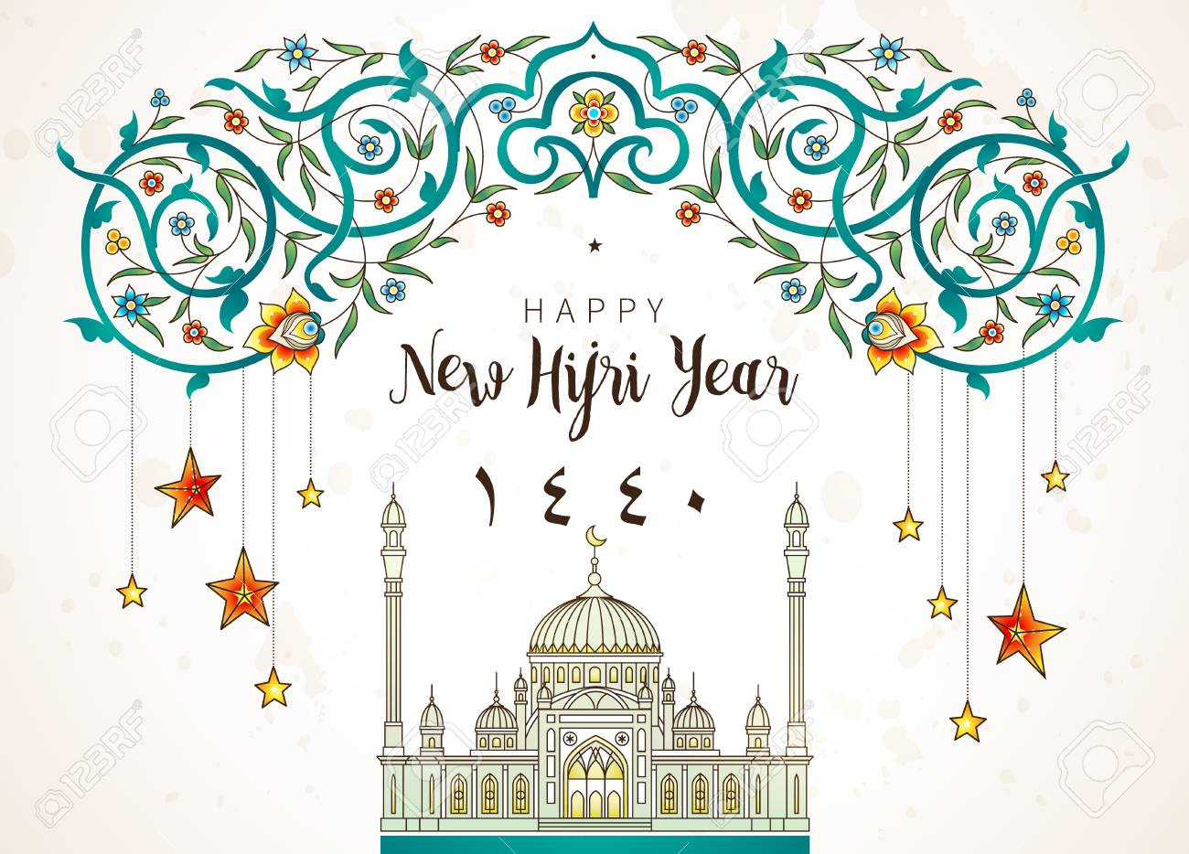 Happy New Hijri Year 1440. Vector holiday card with calligraphy, floral frame, stars, mosque for muslim celebration. Islamic illustration for gift certificates, banners. Ornate decor in Eastern style. - 104865500