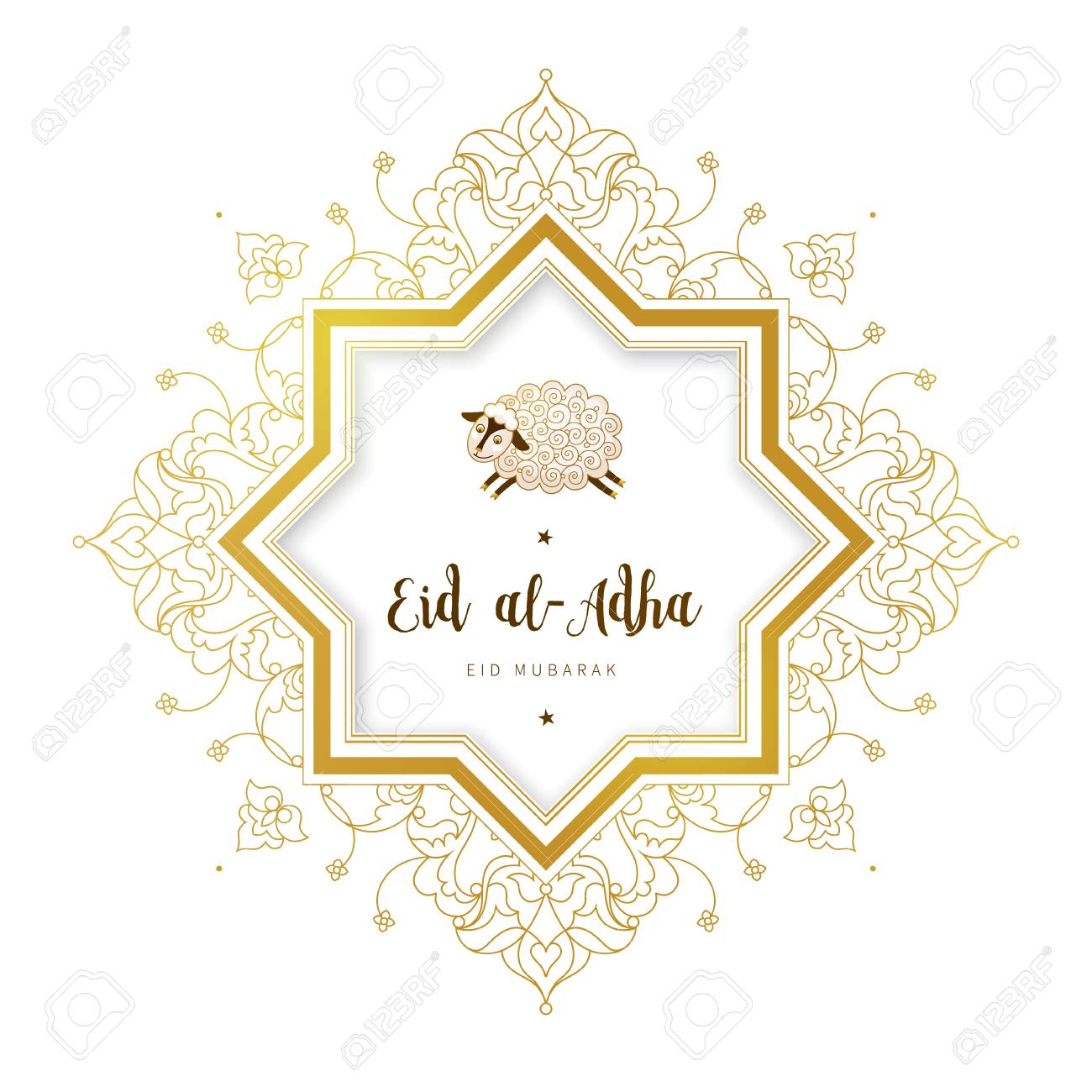 Vector muslim holiday Eid al-Adha card. Banner with sheep, golden outline frame, calligraphy for happy sacrifice celebration. Islamic illustration. Traditional holiday. Decoration in Eastern style. - 104865501