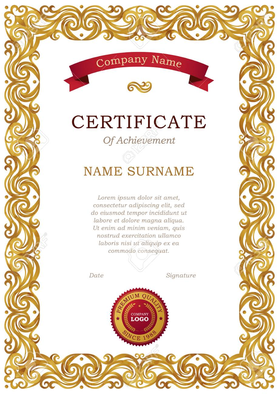 Vector Vintage Frame In Eastern Style Certificate Template With