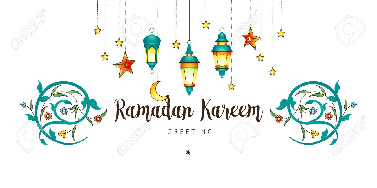 Vector Ramadan Kareem card. Vintage banner with lanterns for Ramadan wishing. Arabic shining lamps, moon, stars. Decor in Eastern style. Islamic background. Cards for Muslim feast of the holy of Ramadan month. - 120026514