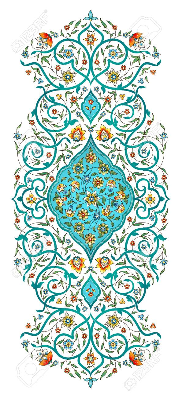 Vector element, arabesque for design template. Luxury ornament in Eastern style. Turquoise floral illustration. Ornate decor for invitation, greeting card, wallpaper, background, web page. - 123174216