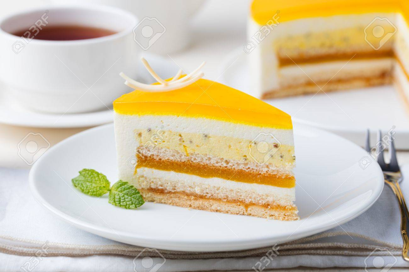 Passion Fruit Cake Mousse Dessert With Tropical Flavor On A Stock