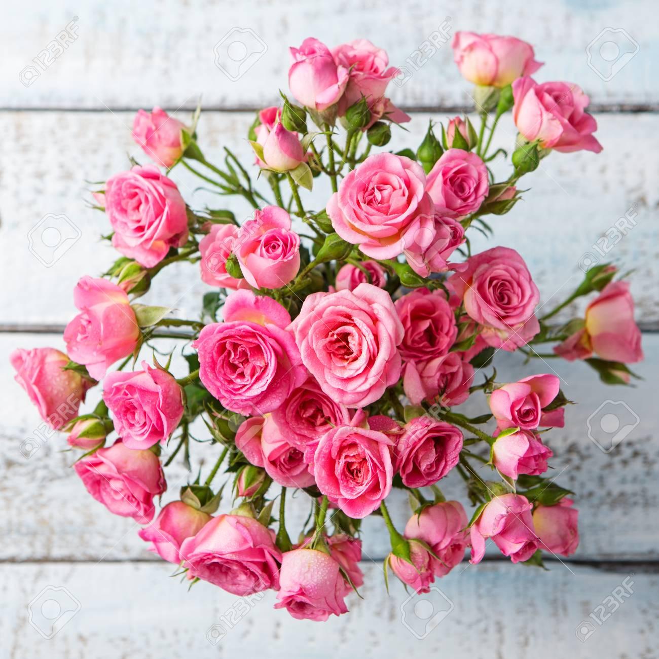 Rose Flowers In Vase Beautiful Romantic Bouquet Copy Space