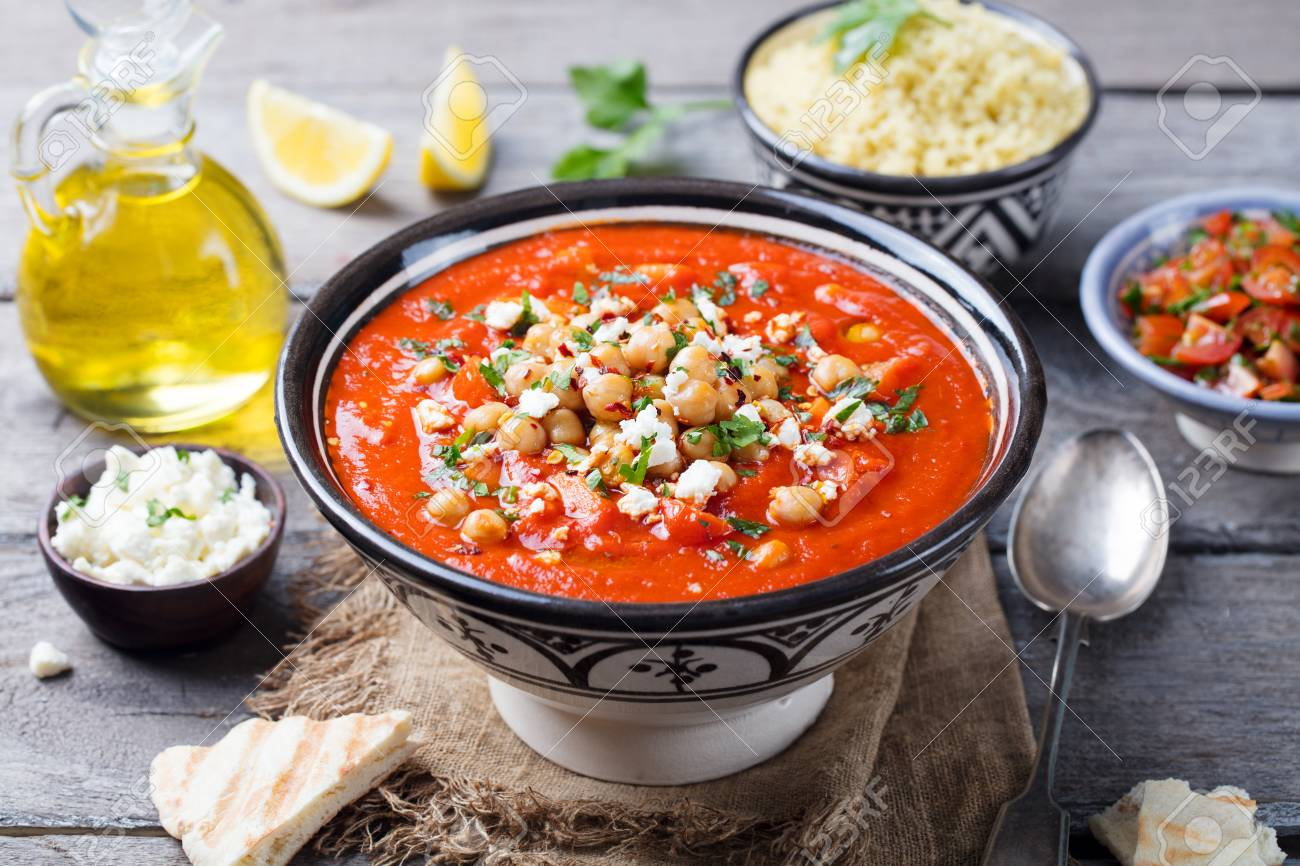 Chickpea soup. Moroccan traditional dish on a wooden background. Copy space. - 95992843