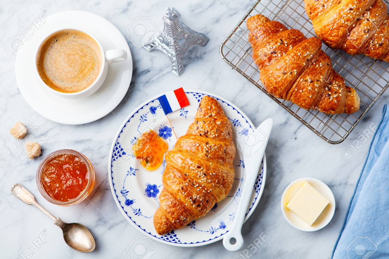 Croissants with baking ingredients. Traditional French pastry. Top view. - 95970703