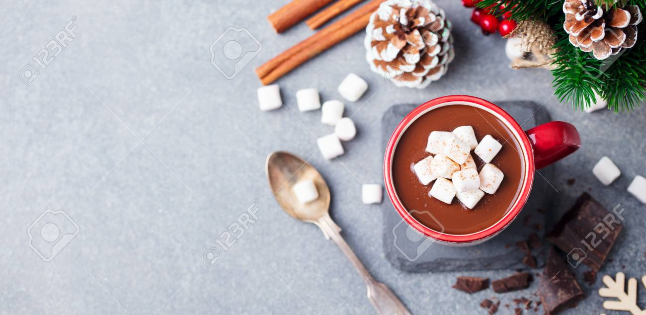 Hot chocolate drink with marshmallows. Christmas, New Year decoration. Grey background. Copy space. Top view. - 111949674