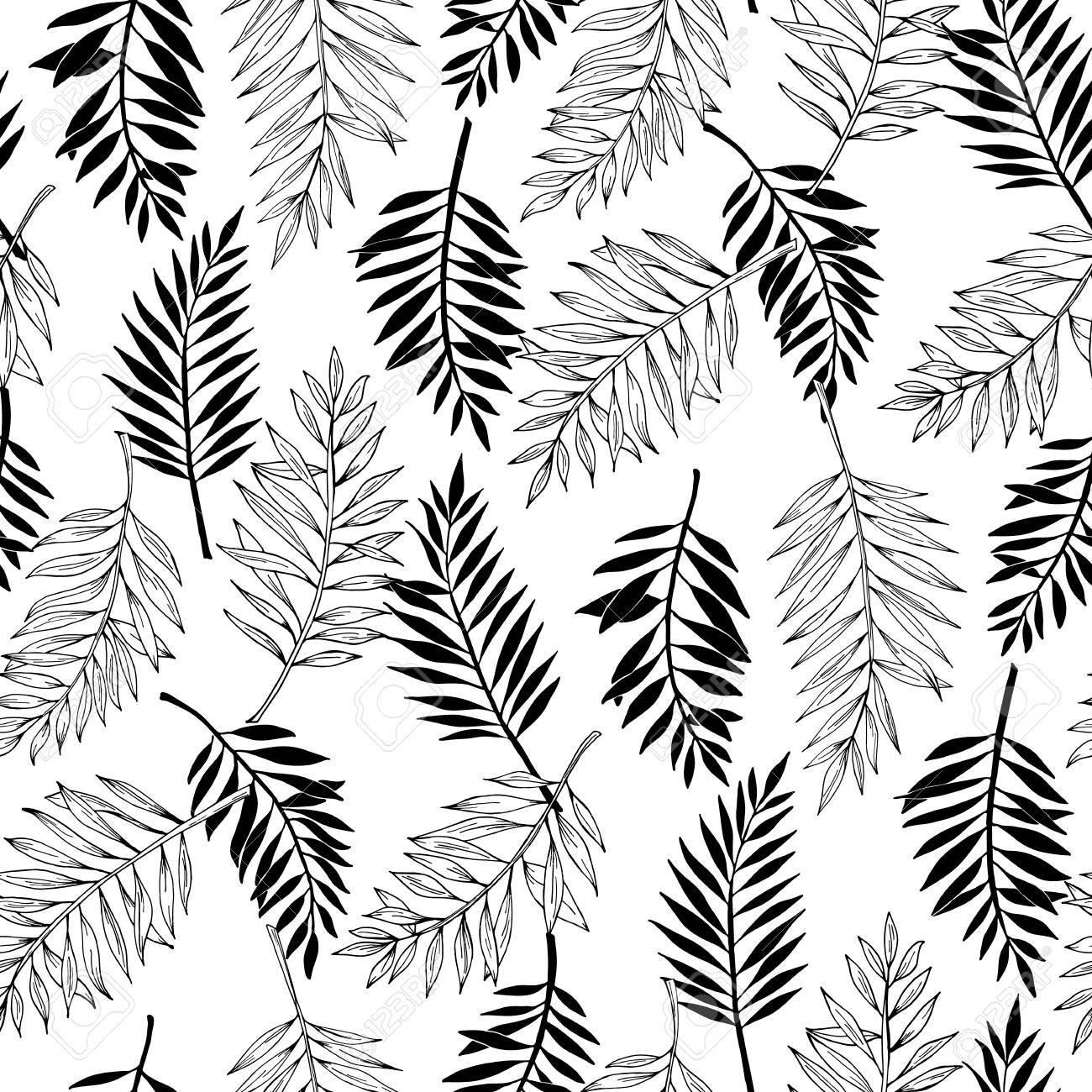 Vector Seamless Areca Palm Leaves Pattern Exotic Foliage Line Royalty Free Cliparts Vectors And Stock Illustration Image 102558583