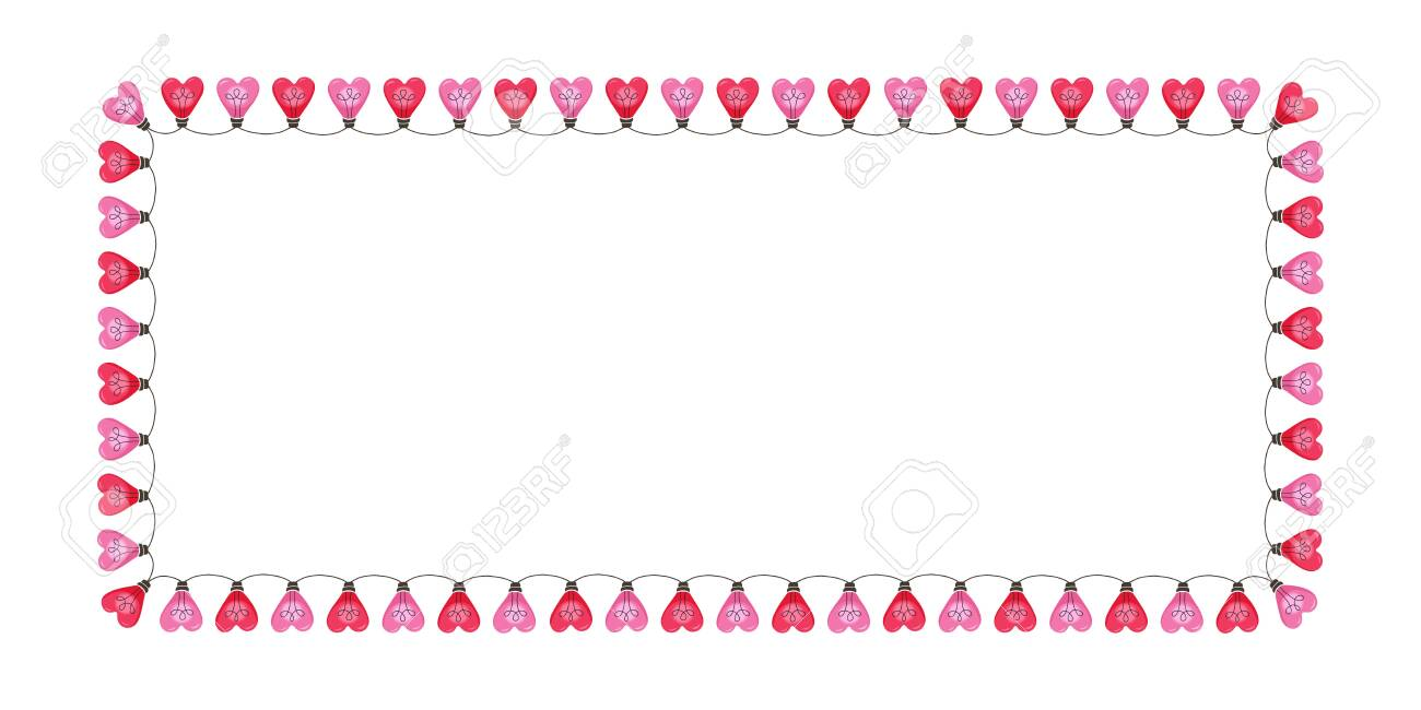 Bright Pink Colorful Valentine's Day Holiday Heart String Lights on White Background Rectangle Horizontal Frame. Square Cute Festive Holiday Copy Space Banner for Greeting Cards and Web - 137119741
