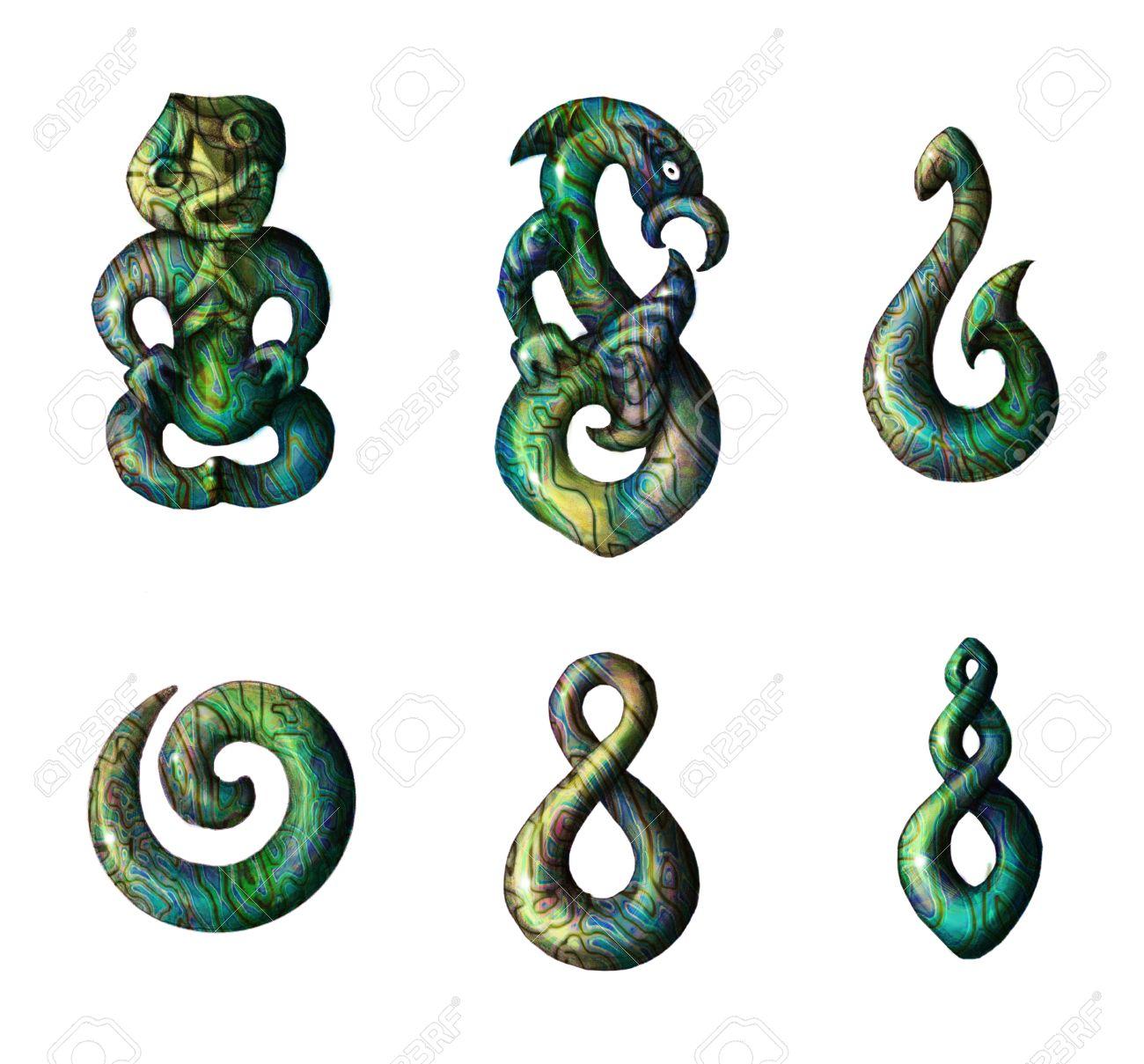 Traditionelle Maori Symbole Bleistiftzeichnung Getrennt Auf Weiss