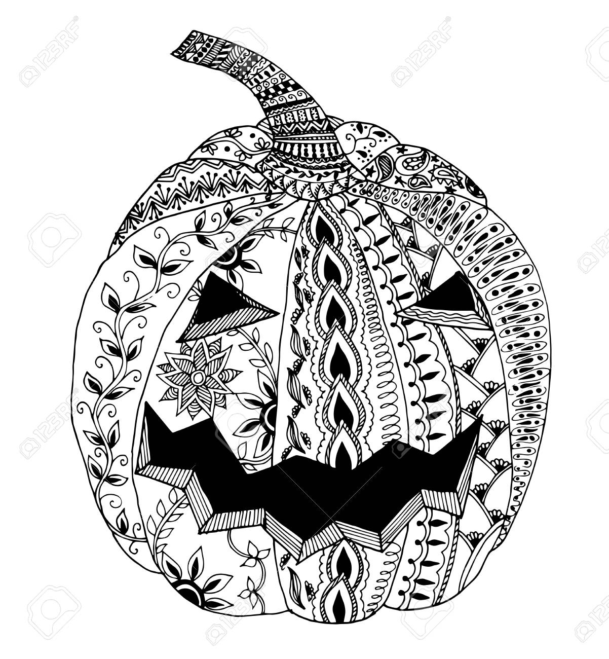 Umpkin For Halloween Hand Drawn Picture Zentangle Vector Royalty Free Cliparts Vectors And Stock Illustration Image 66703399