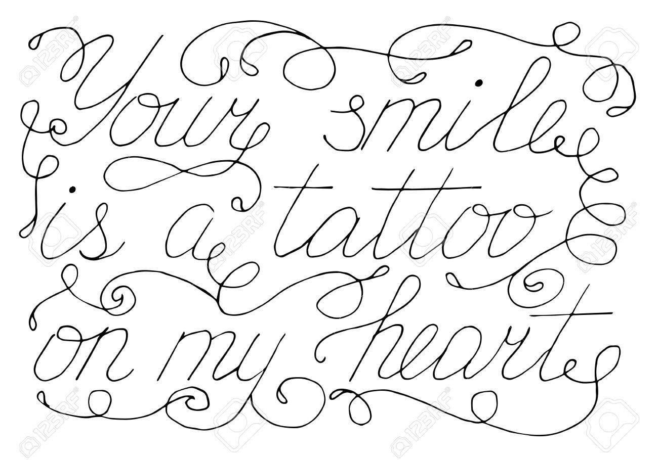 Vettoriale Testo Scritto A Mano Il Tuo Sorriso è Un Tatuaggio Sul