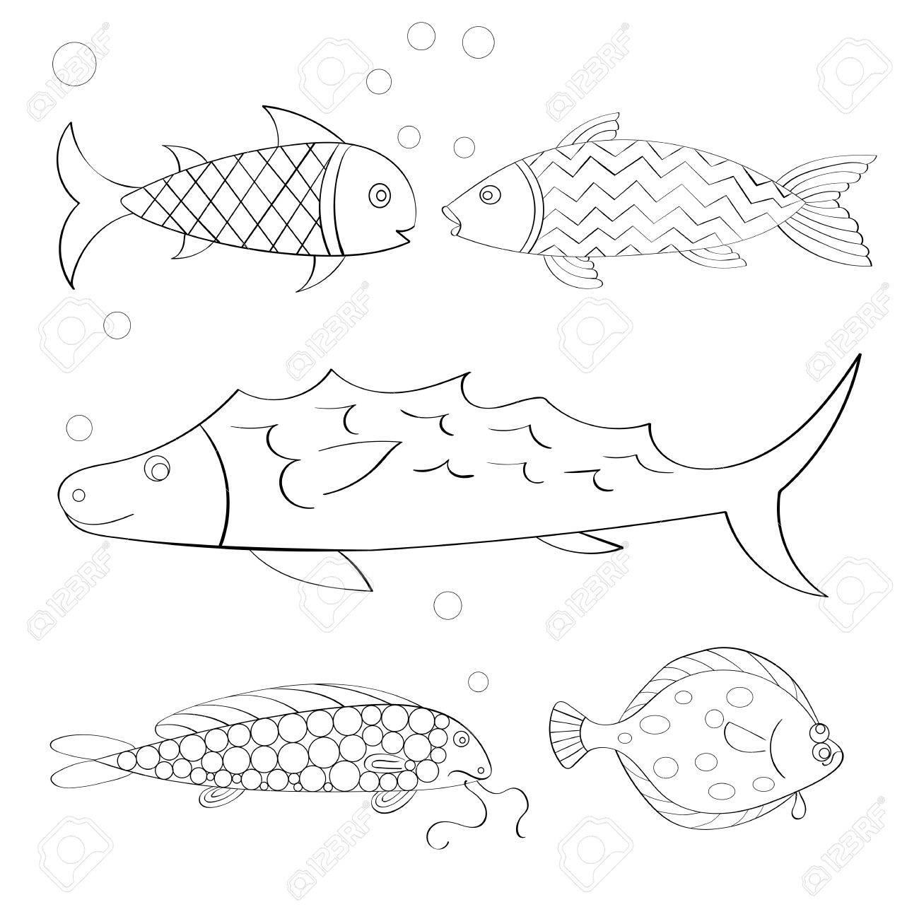 Conjunto De Vector De Los Pescados Dibujados A Mano. Página Del ...