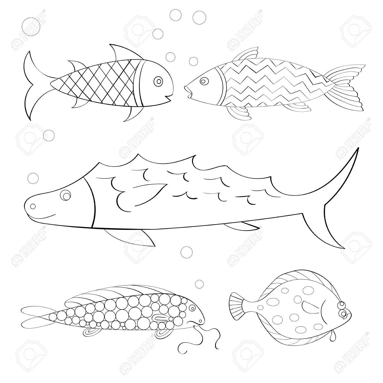 Vector Set Of Hand Drawn Fishes Coloring Book Page Textile