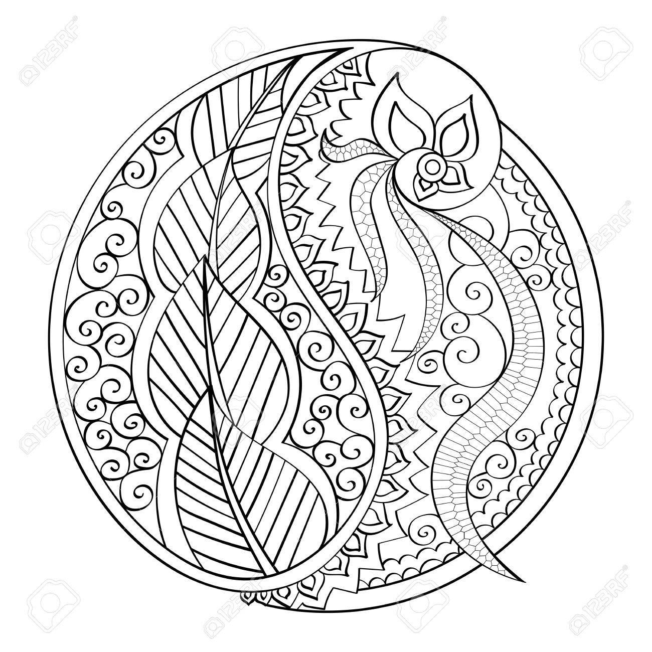 Mandala De Vector Dibujado A Mano Mandala De Página De Libro Libro