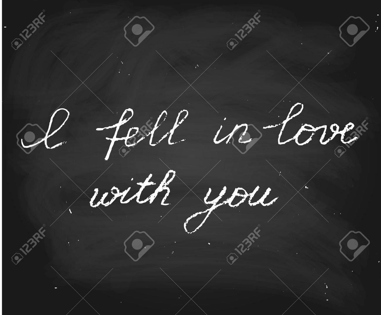 Texte Vectoriel Manuscrit Au Style Craie Je Suis Tombé Amoureux De Toi Parfait Pour Le Jour De La Saint Valentin