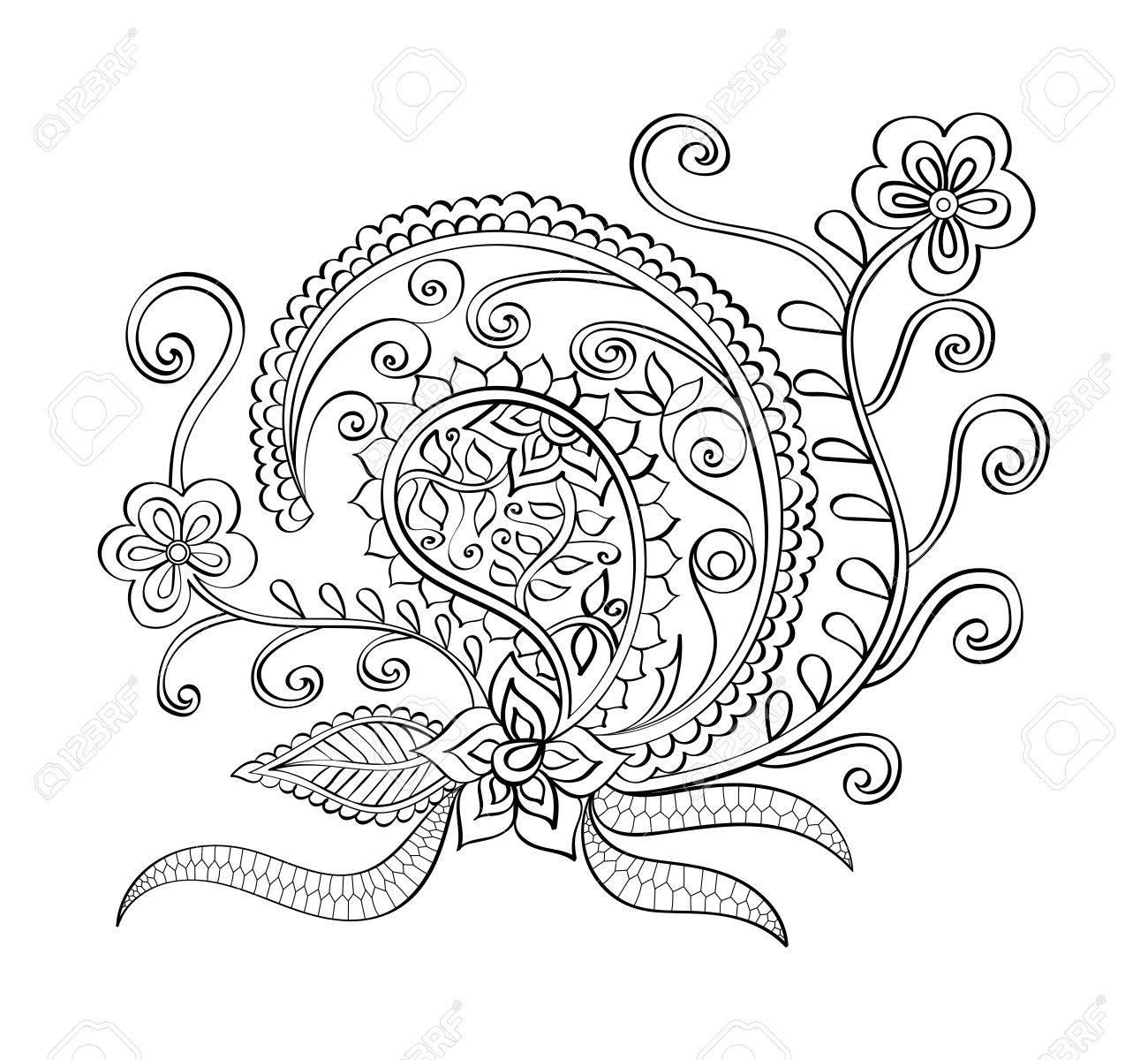 Mandala Dibujado A Mano Del Vector, Mandala De La Página Del Libro ...