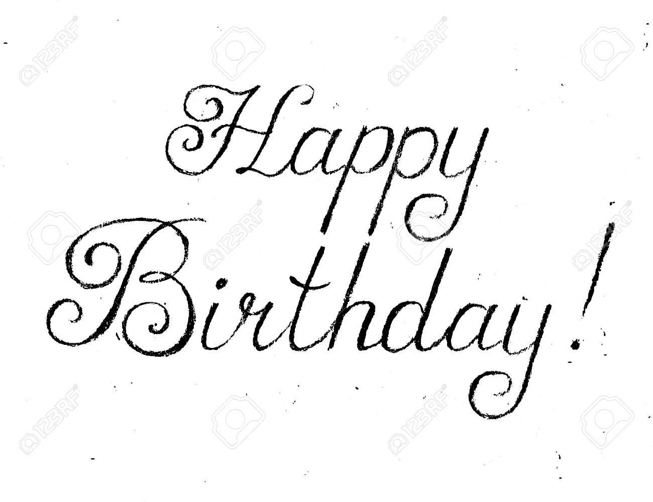 Happy Birthday Card Coal On White Background Vector Handwritten Text In Chalk Style
