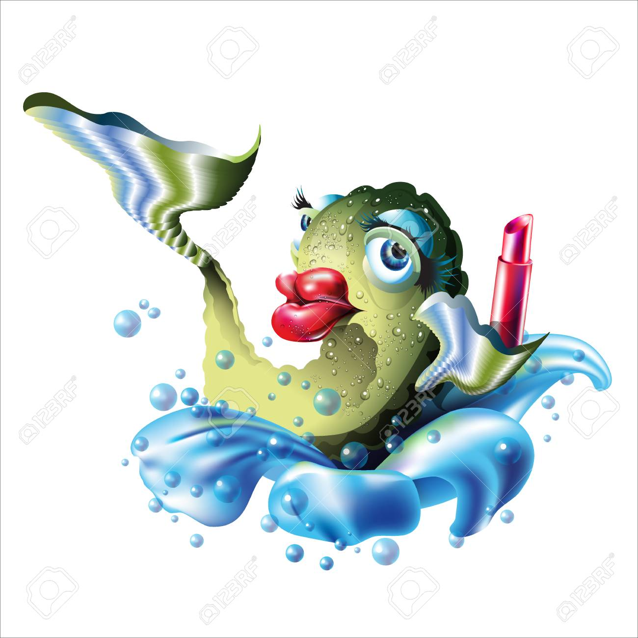 Fish And Lipstick Big Red Lips Illustration Isolated On White