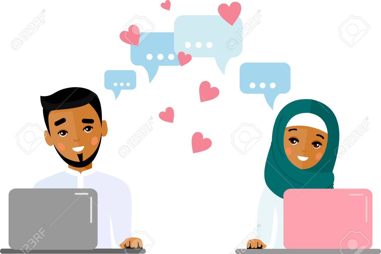 Cute cartoon illustration of arab people in love using computer and internet. - 109943919
