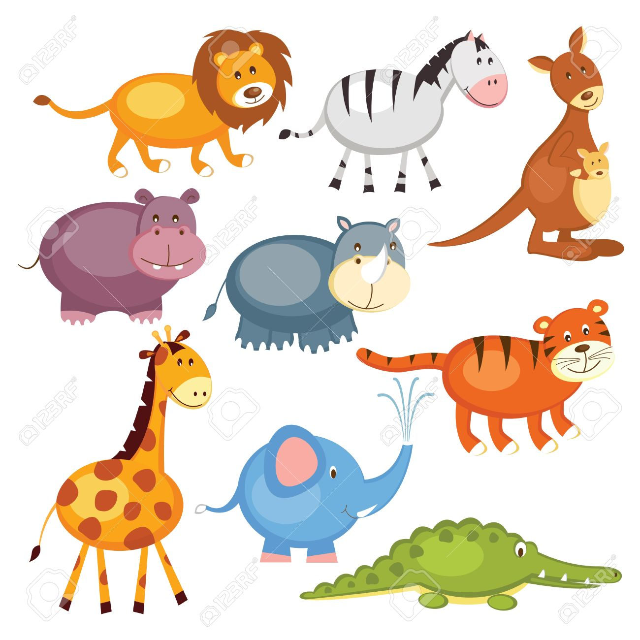 Set of cartoon cute wild animals, isolated over white Stock Vector - 19980345