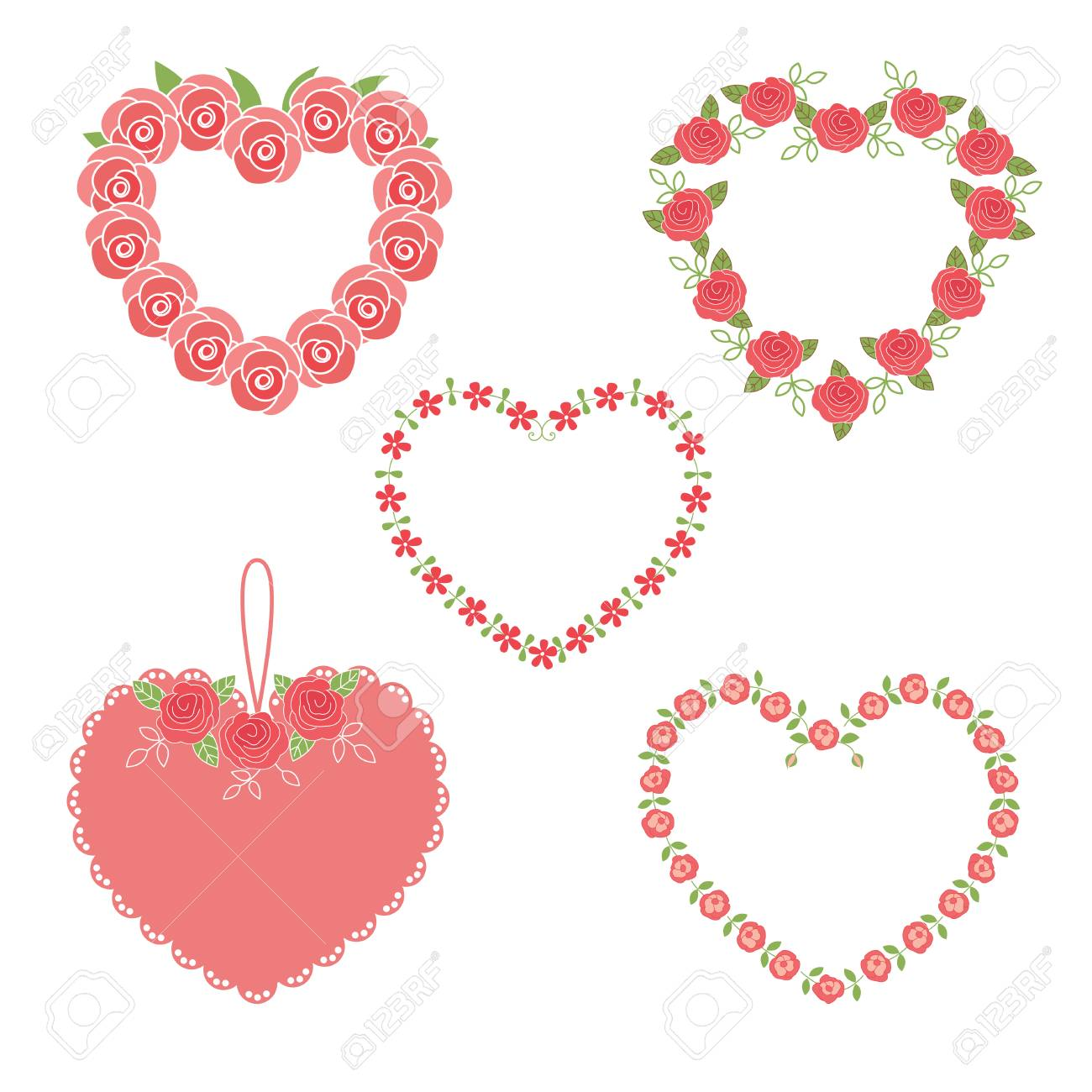 Set Of Flower Heart Frames Royalty Free Cliparts, Vectors, And Stock ...