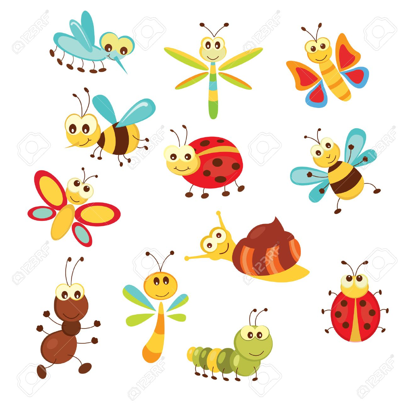 Set of funny cartoon insects isolated over white Stock Vector - 25505037