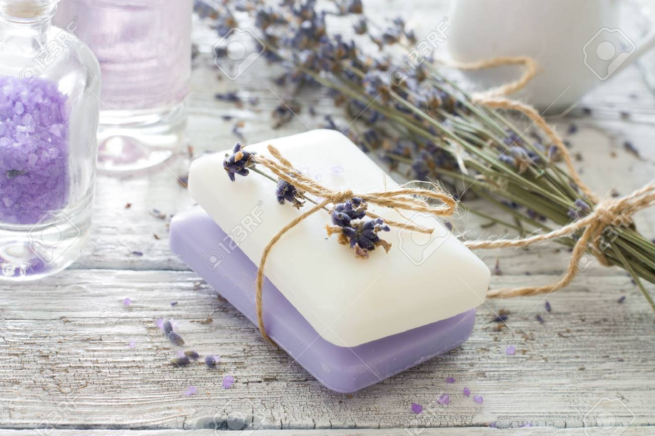 Spa Set With Lavender,soap And Sea Salt Over Wood Grunge Background ...