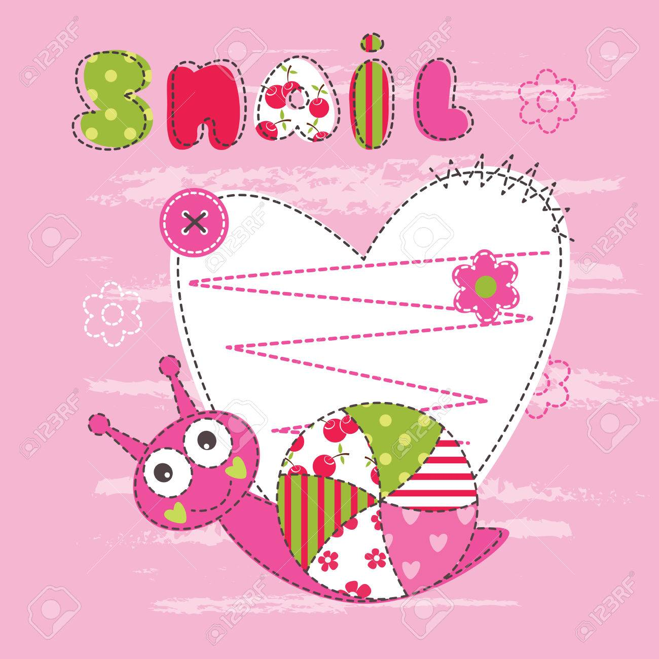 cute baby background with snail for baby shower greeting card tshirt design