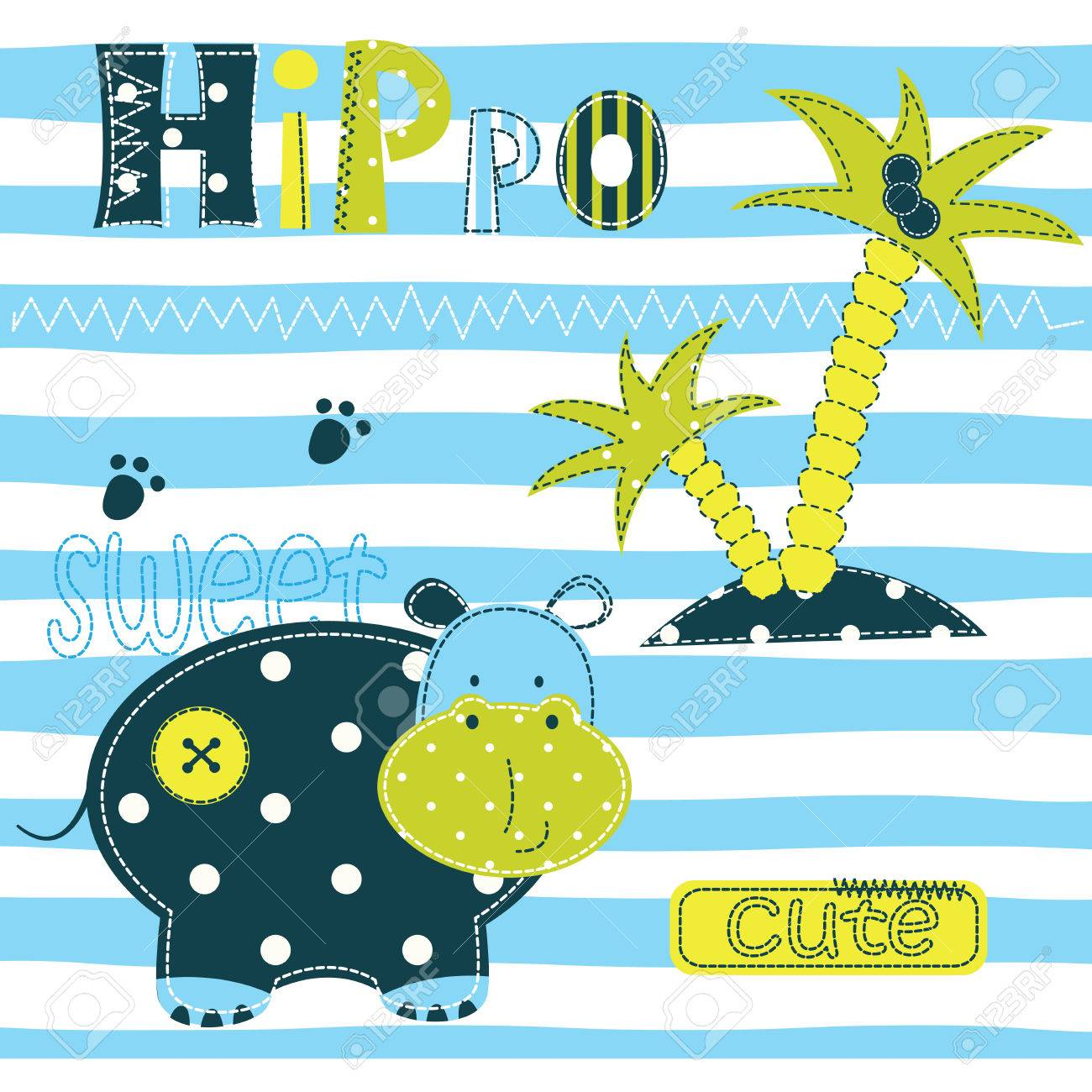 Shirt design card - Background With Cute Hippo Palm And Lettering For Baby Shower T Shirt Design