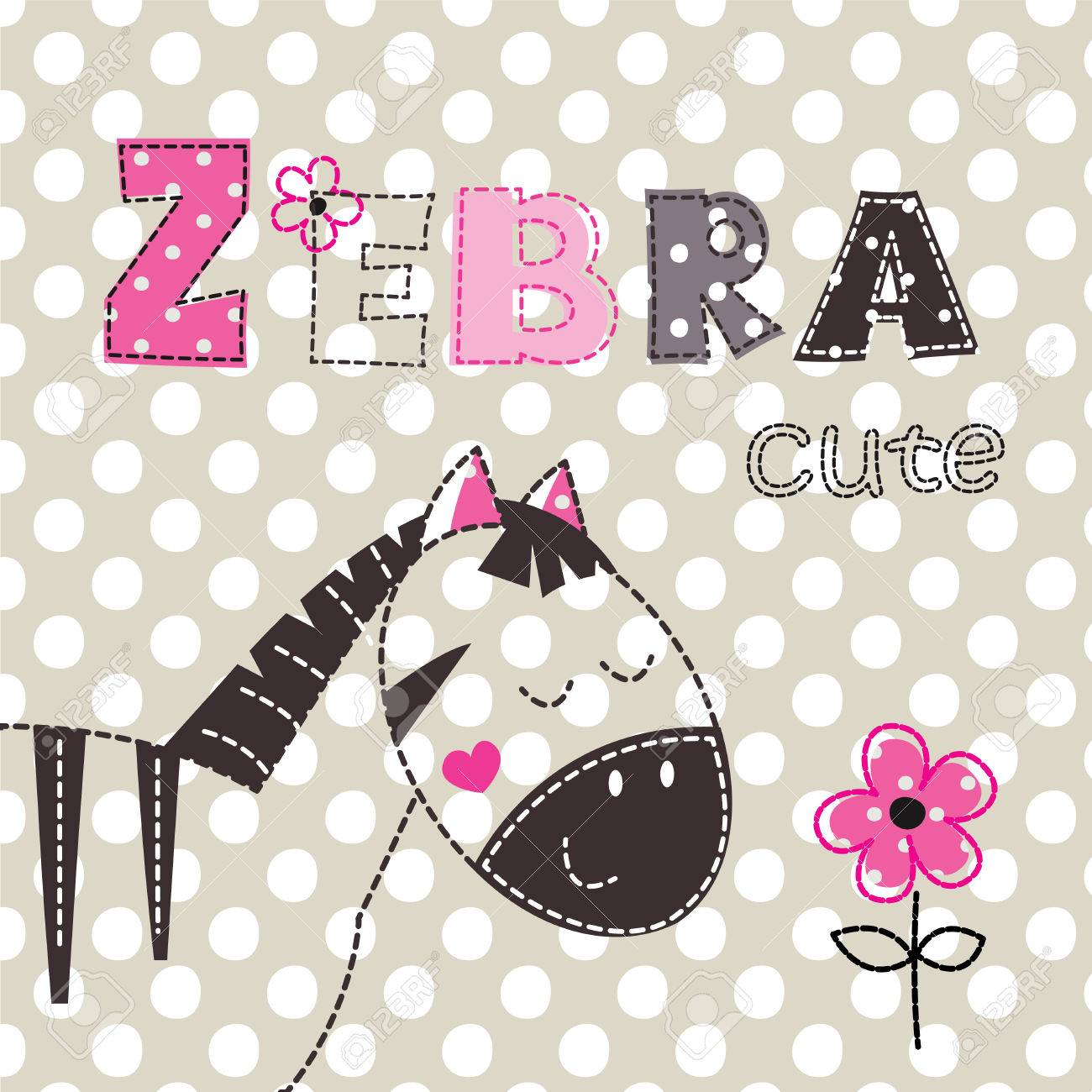 Background With Cute Zebra With Floral Elements And Lettering
