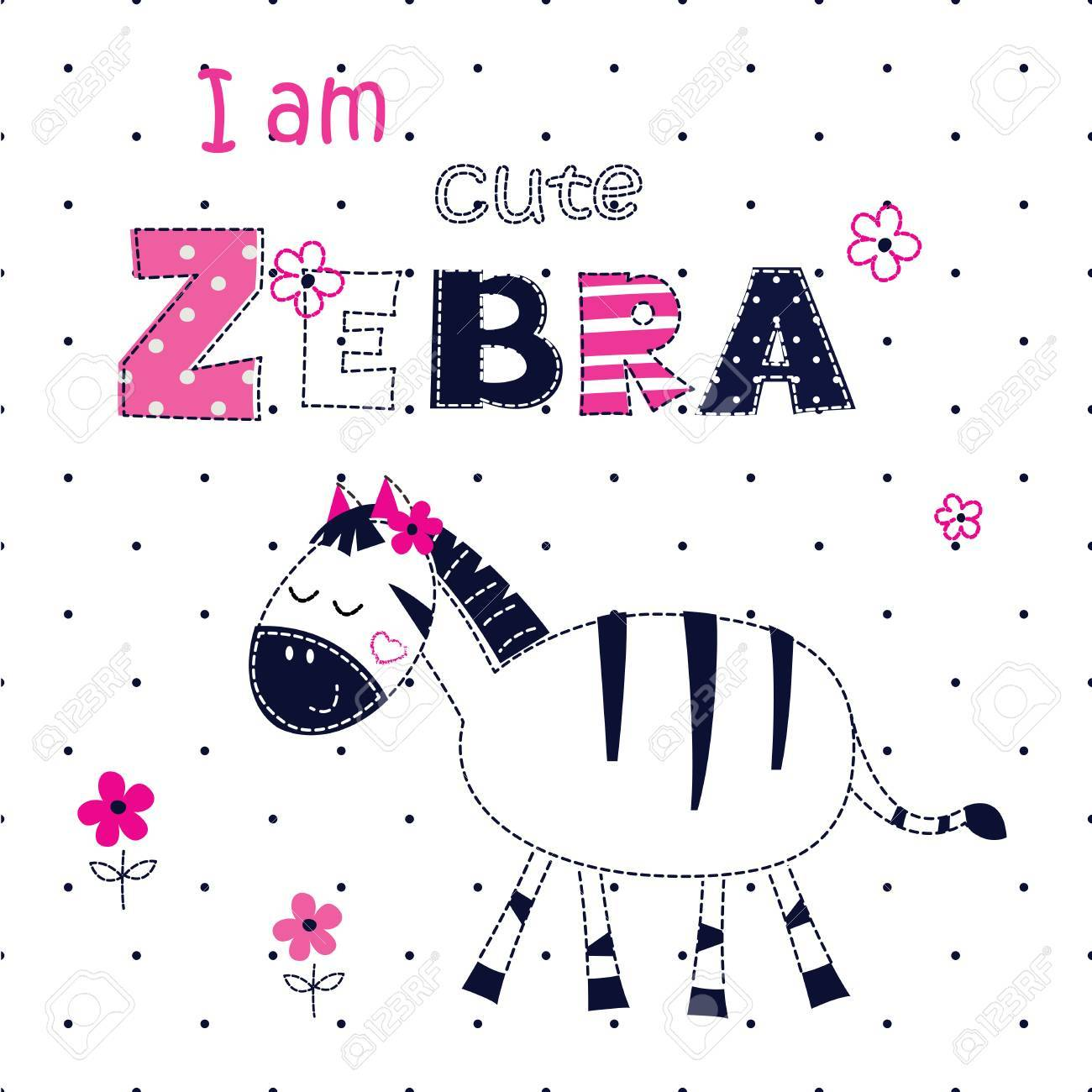 Zebra shirt design - Background With Cute Zebra With Floral Elements And Lettering For T Shirt Design Baby
