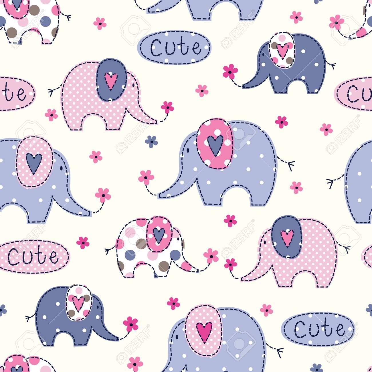 Modelo Inconsútil Con Los Elefantes, Lindo, Colorido, Flores Y ...