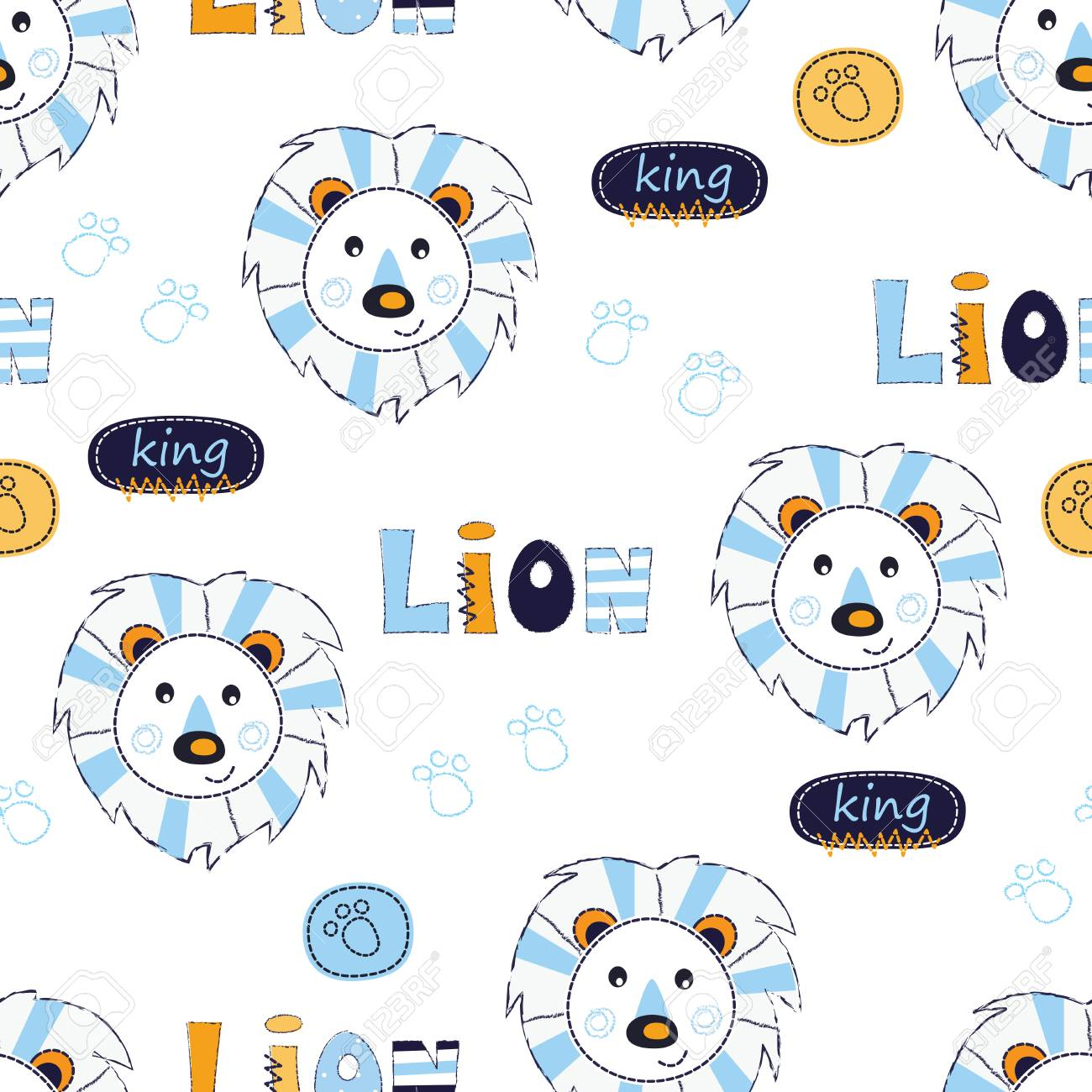 Nahtlose Muster Mit Löwen Zusammenfassung Vektor Illustration