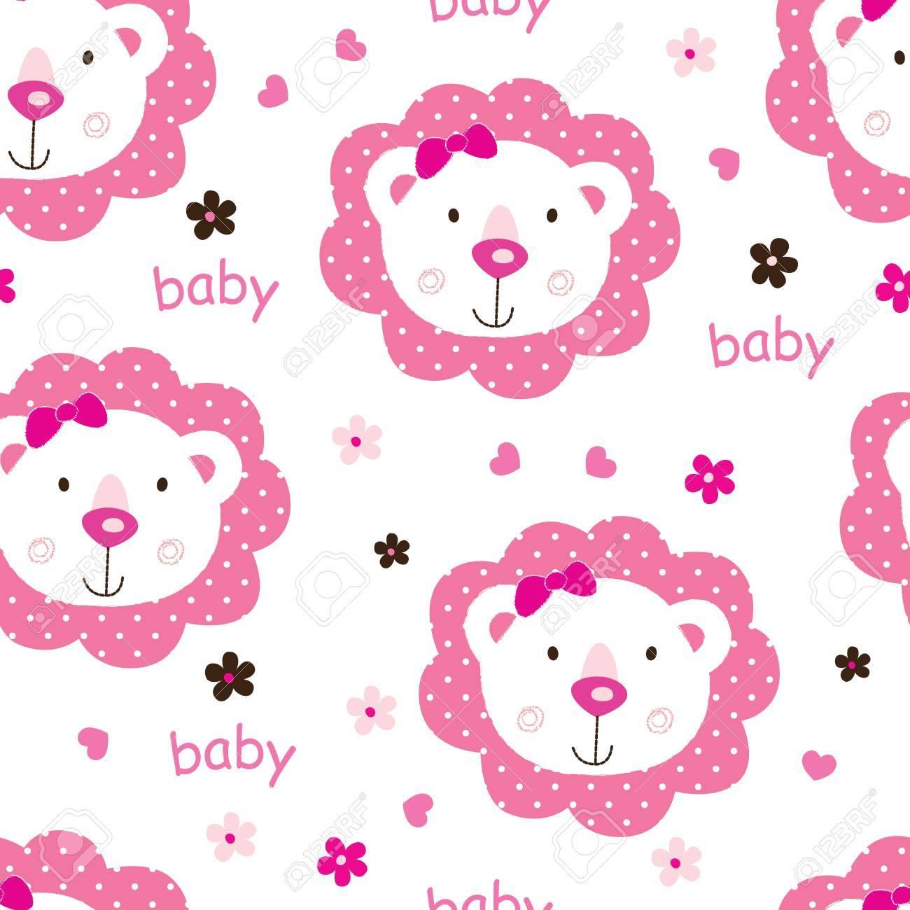 Nahtlose Muster Mit Niedlichen Baby Löwen Für Kindmädchen Design ...