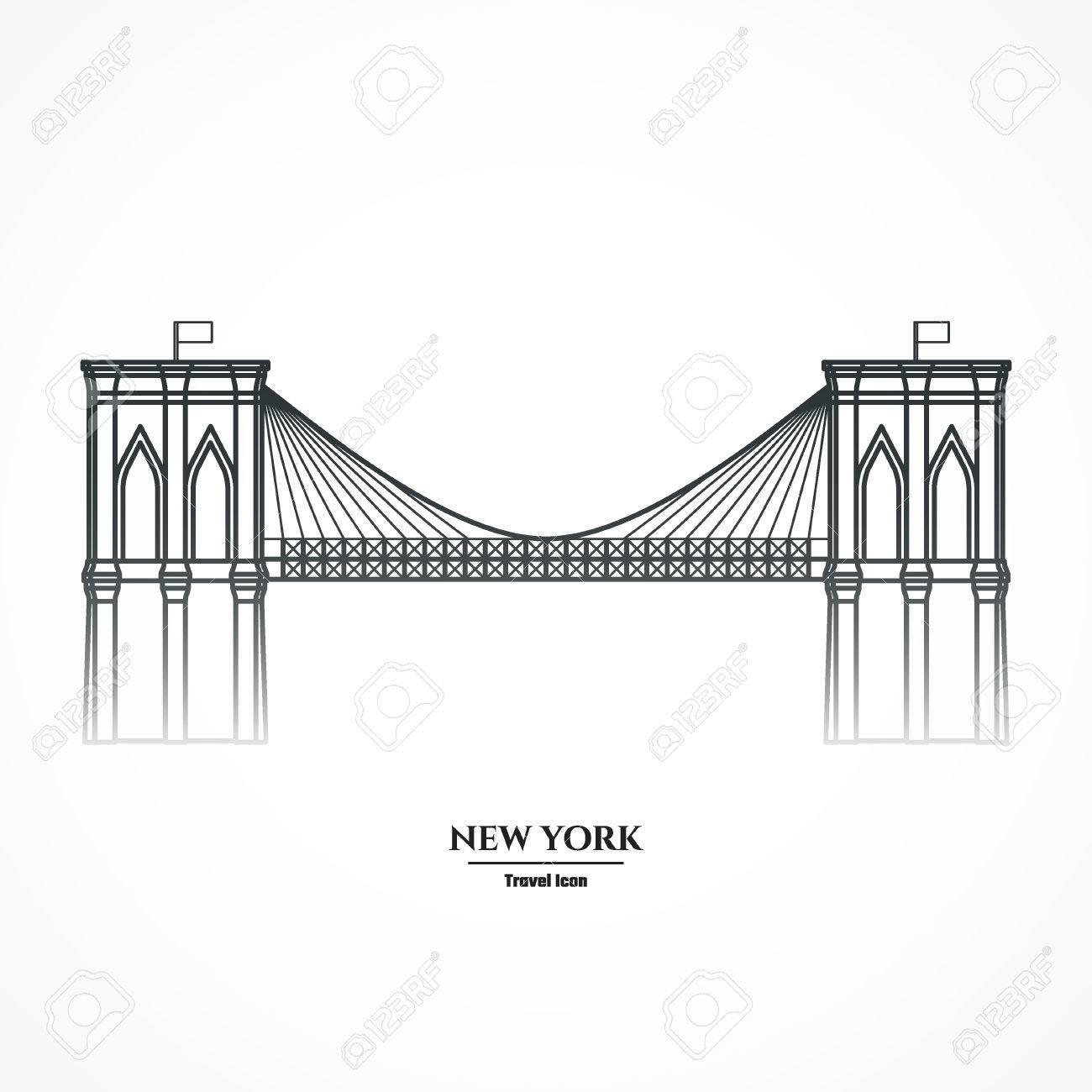 illustration outline brooklyn bridge royalty free cliparts rh 123rf com brooklyn bridge silhouette vector brooklyn bridge silhouette vector free