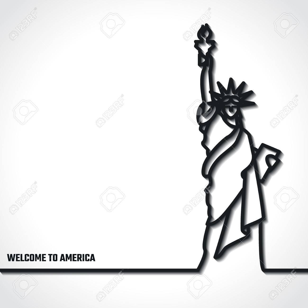 Ilustración Del Vector De La Estatua Esquema De Icon Libertad Para ...