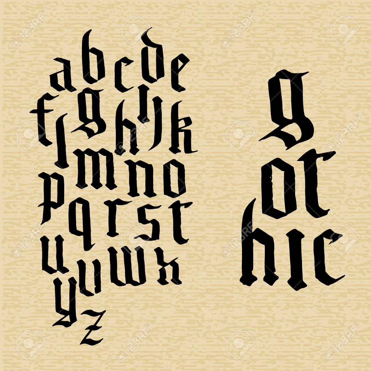 vector illustration of hand draw gothic font for design website