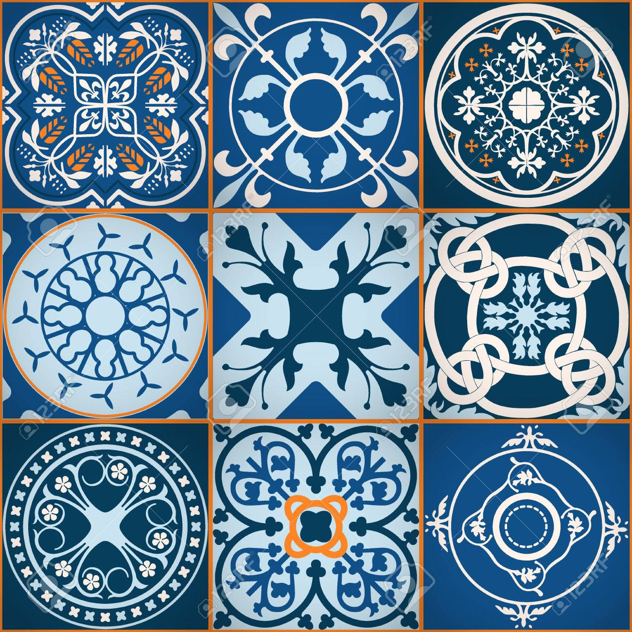 Vector Illustration Of Moroccan Tiles Seamless Pattern For Design