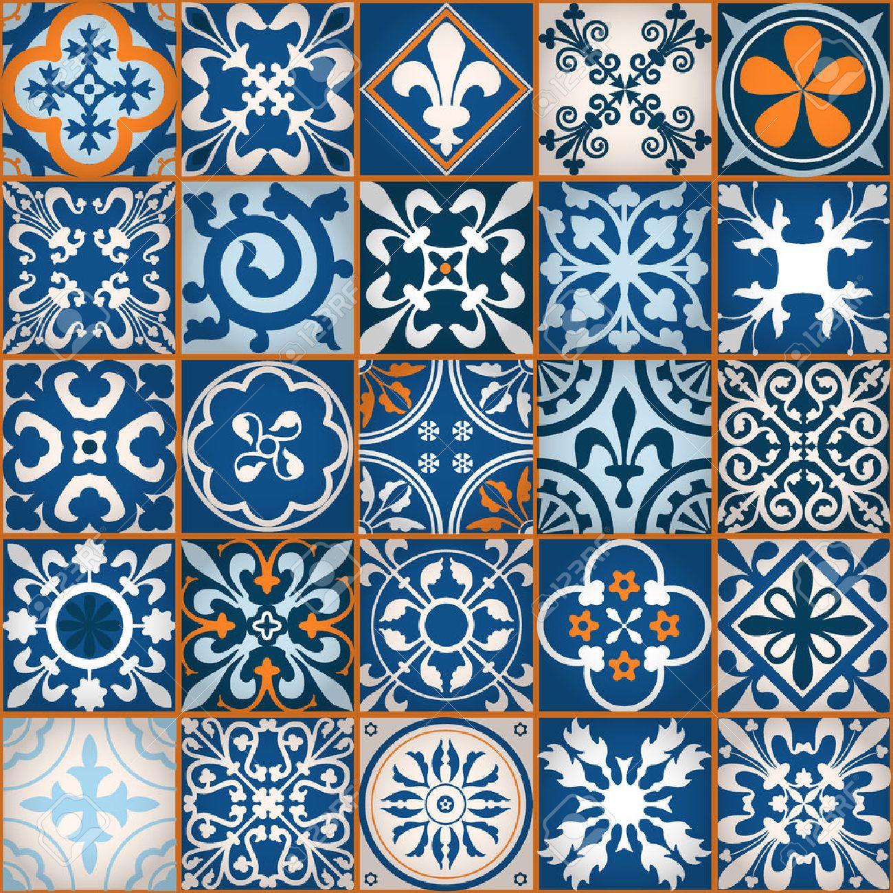 ベクトル図のモロッコ タイルのデザイン 背景 バナーのシームレスなパターン 壁紙やテキスタイルの要素です 中世飾りテクスチャ テンプレートのイラスト素材 ベクタ Image