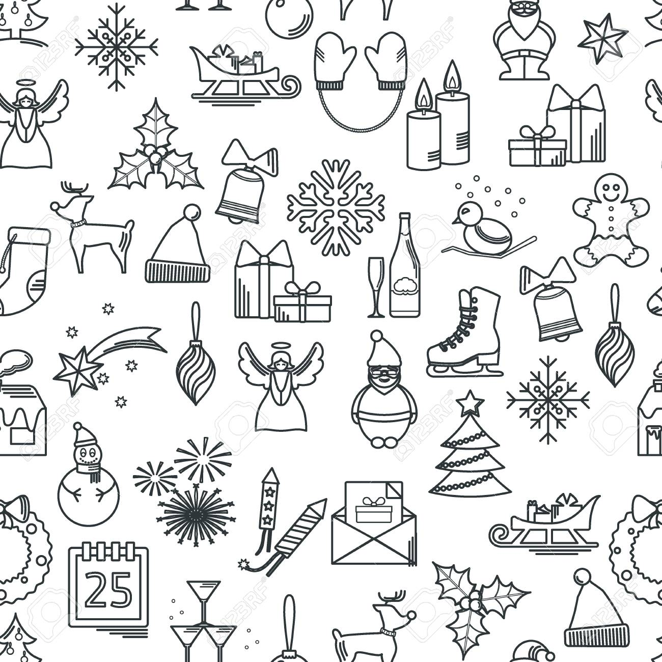 vector vector illustration of christmas icons outline for design website background banner thin new year seamless pattern template for your new year