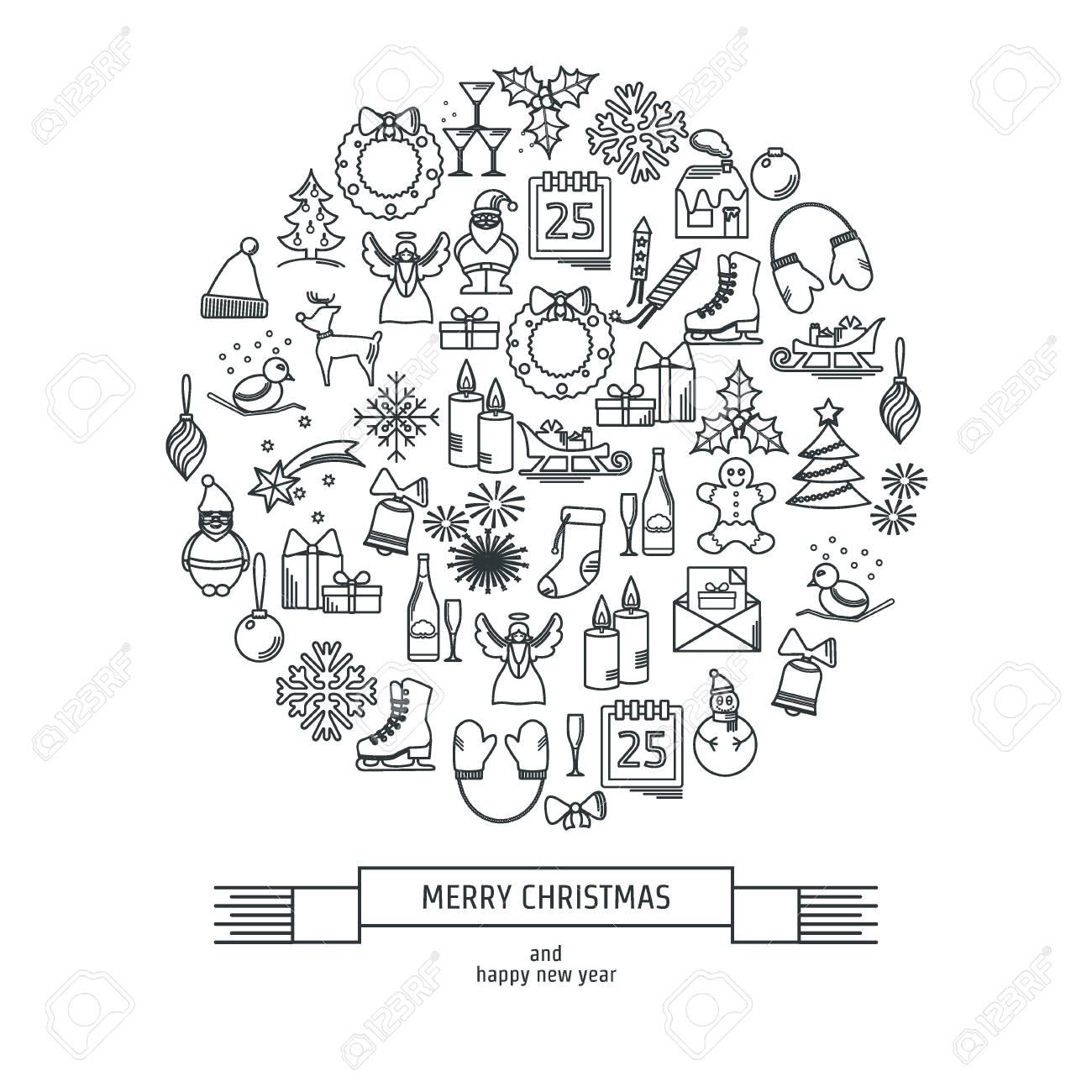 Vector Illustration Von Weihnachts-Icons Umreißen Für Design ...