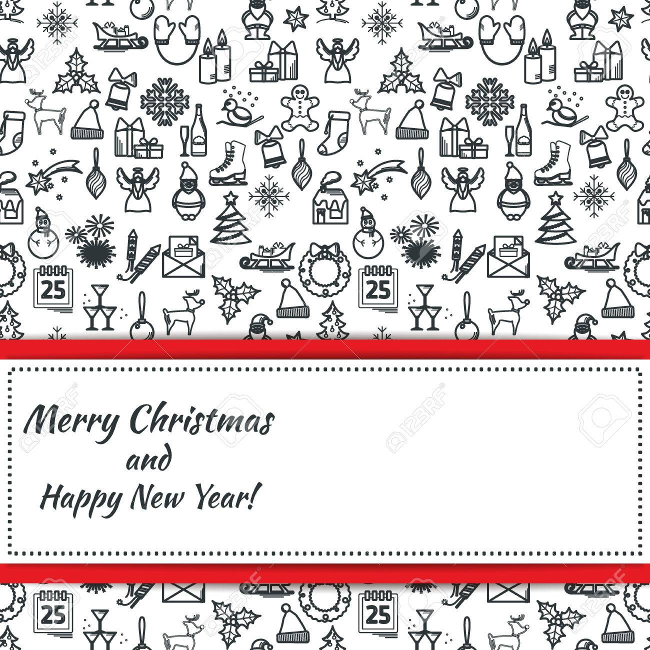 vector vector illustration of christmas icons outline for design website background banner thin new year element template