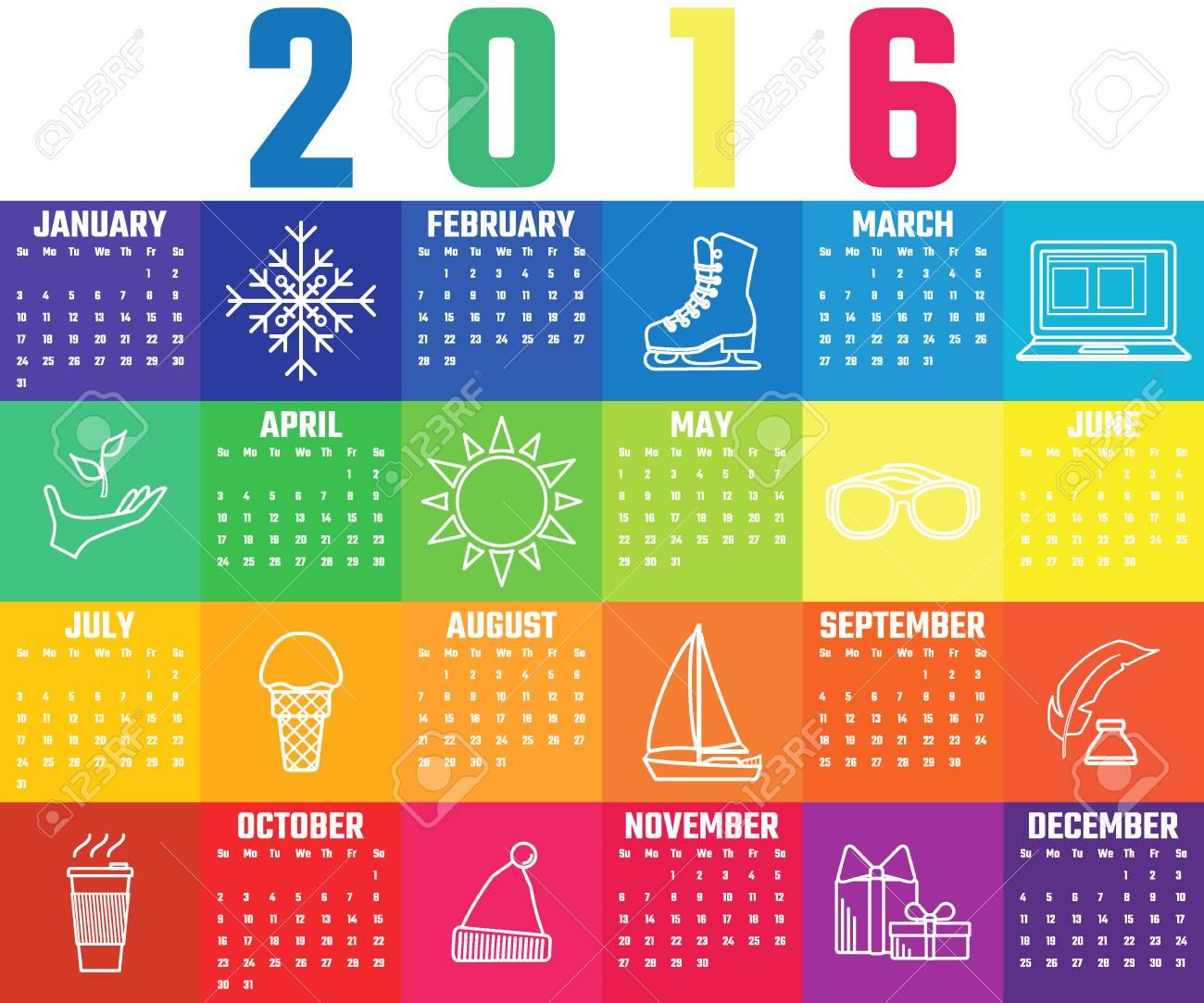 Vector Illustration Der Flachen Full Regenbogen-Kalender Für Design ...