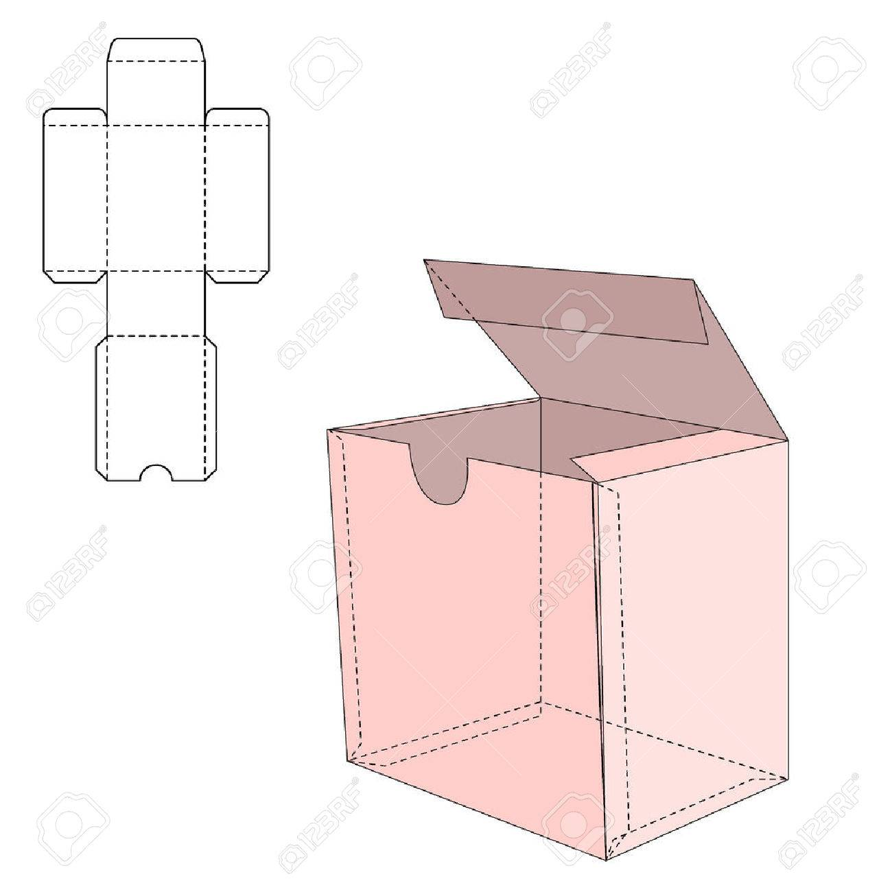 Vector Illustration of Gift craft Box for Design, Website, Background, Banner. Folding package Template. Fold pack with die line for your brand on it - 47416235