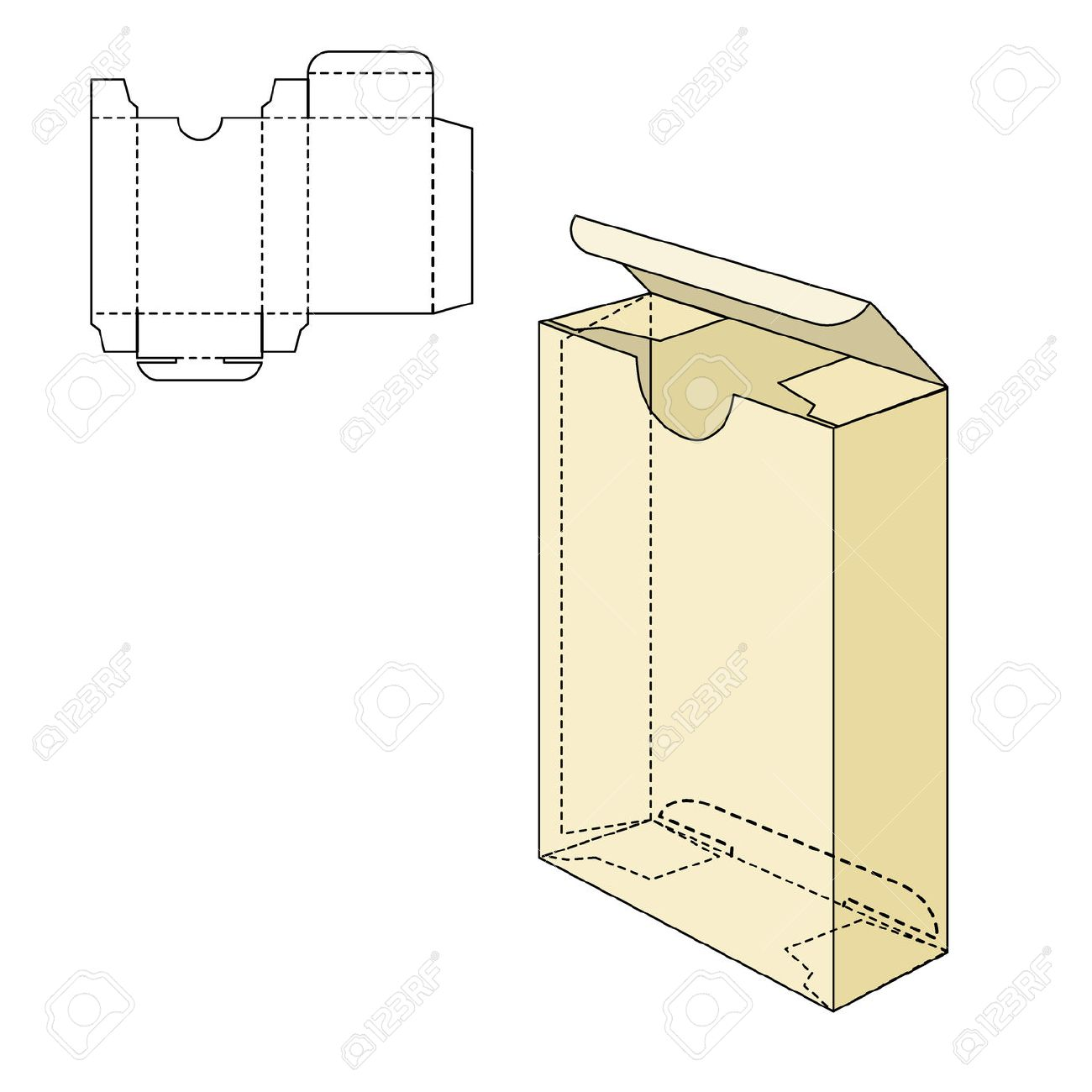 Vector Illustration of Gift craft Box for Design, Website, Background, Banner. Folding package Template. Fold pack with die line for your brand on it - 47423067