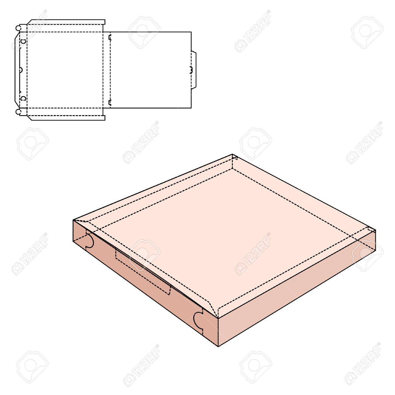 Vector Illustration of pizza craft Box for Design, Website, Background, Banner. Delivery Folding package Template. Fold pack with die line for your brand on it - 48116863